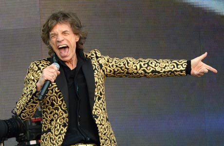 Mick Jagger of Rolling Stones performing at Barclaycard presents British Summer Time at Hyde Park in London on Saturday, July 6, 2013. (Photo by Jon Furniss/Invision/AP Images)