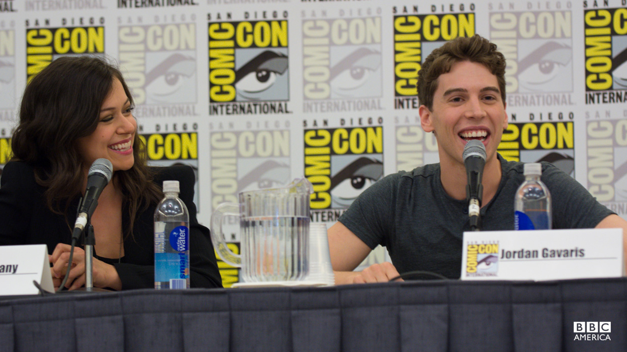 "Tatiana Maslany and Jordan Gavaris at the ""Orphan Black"" San Diego Comic-Con panel."