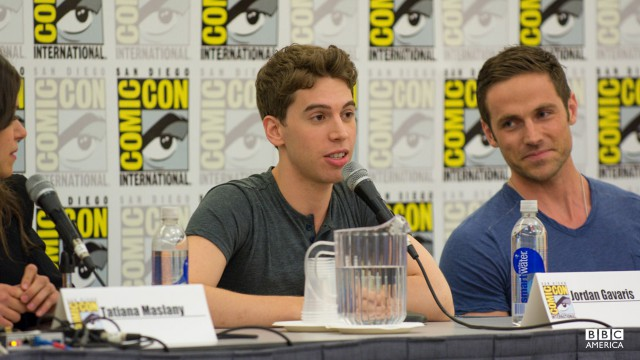 """I'm sorry I know this is very jarring for everyone because you were expecting a British accent,""  Jordan Gavaris said concerning his Canadian accent.  Dylan Bruce added, ""I know it's kind of jarring for you guys as well because I'm not speaking in my Batman voice."""