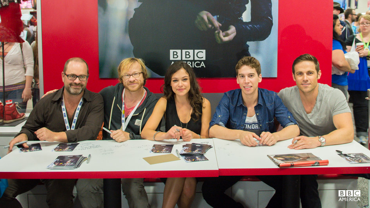 "Co-Creators Graeme Mason and John Fawcett with actors Tatiana Maslany, Jordan Gavaris and Dylan Bruce at the ""Orphan Black"" signing."