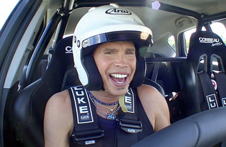 Steven Tyler gets a grip...on the wheel. (BBC AMERICA)