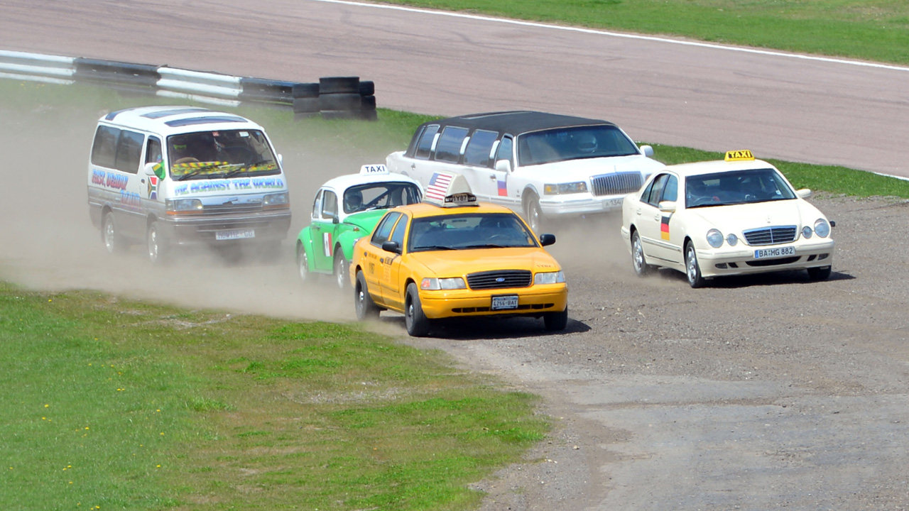 Taxis of the world racing at Lydden Hill Race track