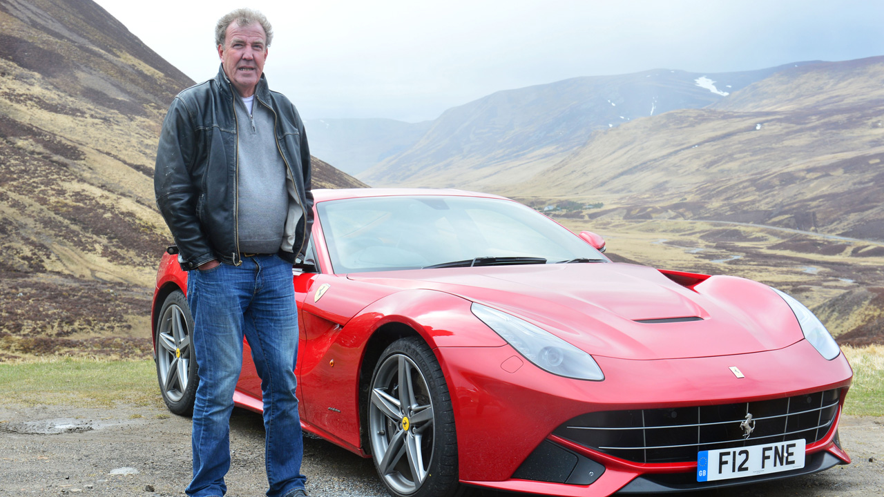 Jeremy Clarkson and a Ferrari F12 in Scotland