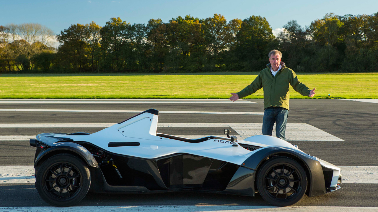 Jeremy Clarkson and the BAC Mono on the Top Gear Test Track