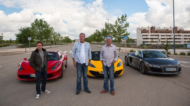 Richard Hammond, Jeremy Clarkson and James May with the Ferrari 458 Spider, McLaren MP4-12C Spider and the Audi R8 Spyder in Valdeluz