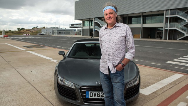 James May and the Audi R8 Spyder at a deserted airport in Spain