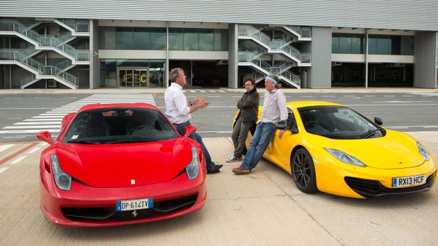 Jeremy Clarkson, Richard Hammond and James May with the Ferrari 458 Spider and the McLaren MP4-12C Spider at a deserted airport in Spain