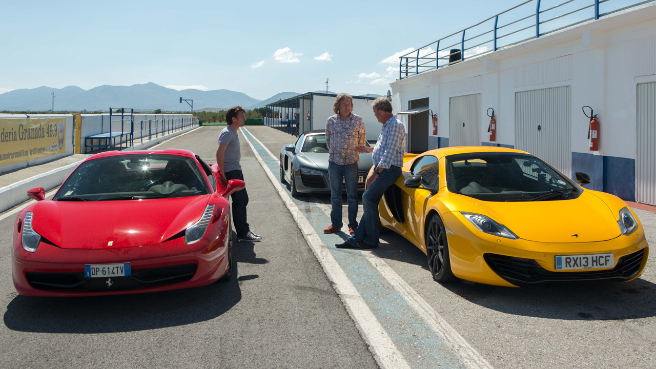 Richard Hammond, James May and Jeremy Clarkson with the Ferrari 458 Spider, McLaren MP4-12C Spider and the Audi R8 Spyder at the Guadix Circuit in Spain