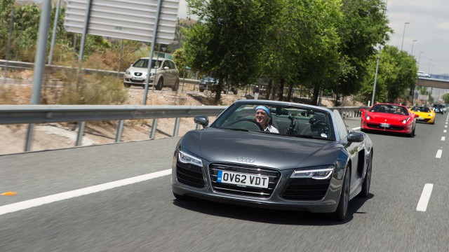 James May driving the Audi R8 Spyder in Spain