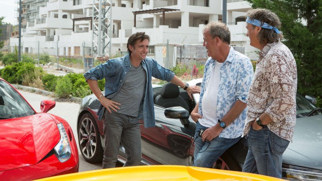 Richard Hammond, Jeremy Clarkson and James May with the Audi R8 Spyder and Ferrari 458 Spider in Spain