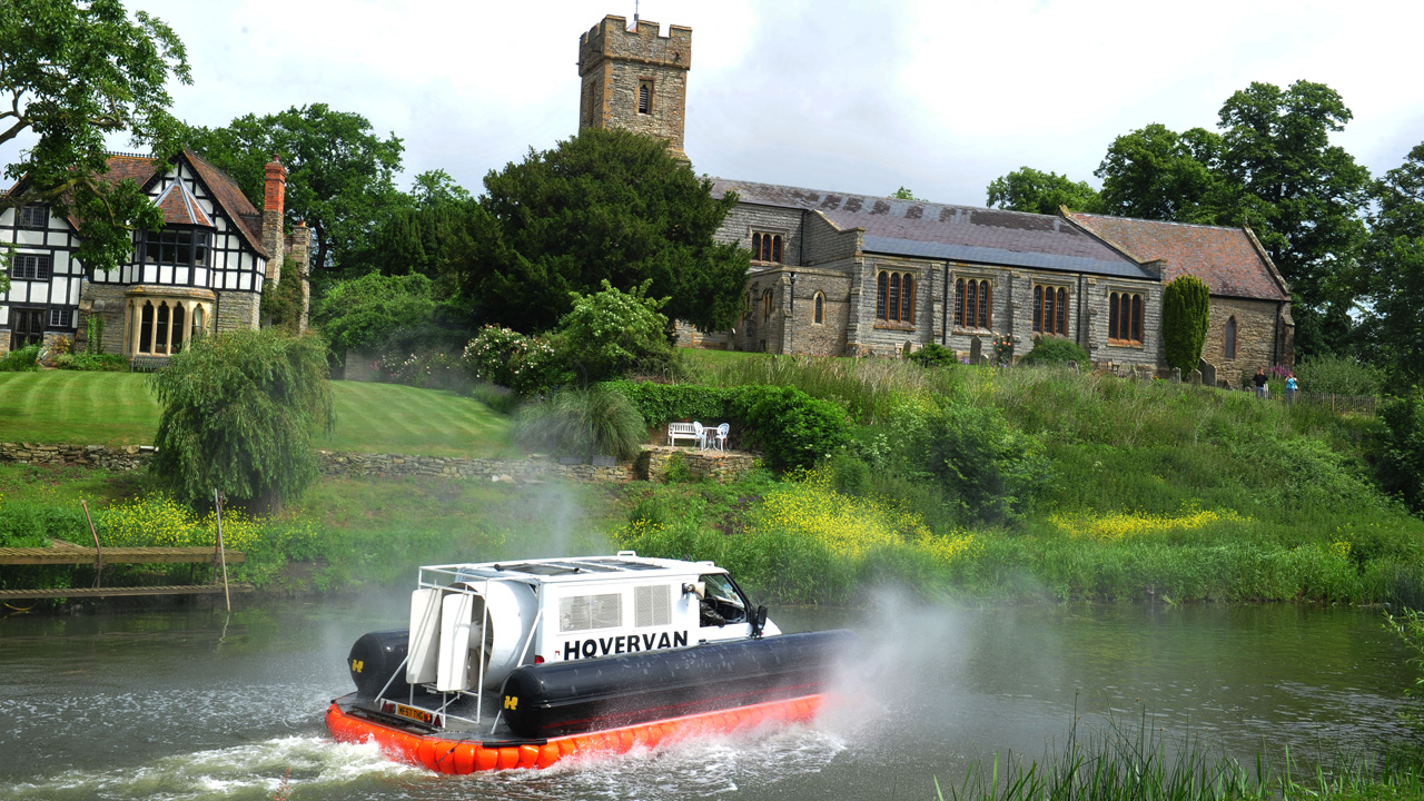The Top Gear Hovervan travelling along the river Avon