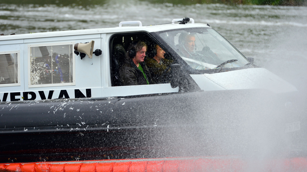 James May, Richard Hammond and Jeremy Clarkson driving the Top Gear Hovervan