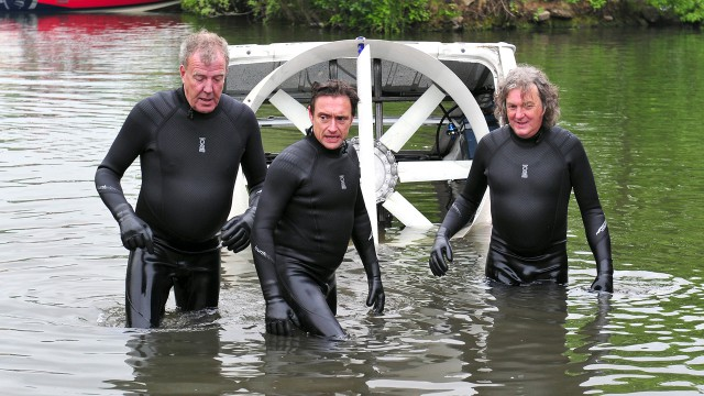 Richard Hammond, Jeremy Clarkson and James May testing Top Gear Hovervan