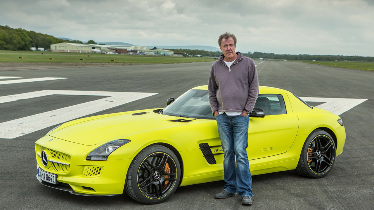 Jeremy Clarkson with the Mercedes SLS Electric on the Top Gear Test Track