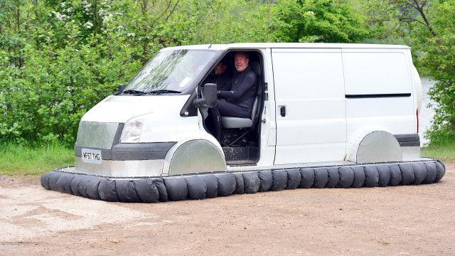 Jeremy Clarkson driving the Top Gear Hovervan
