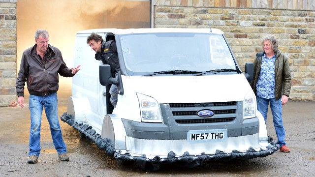 Jeremy Clarkson, Richard Hammond and James May with the Top Gear Hovervan