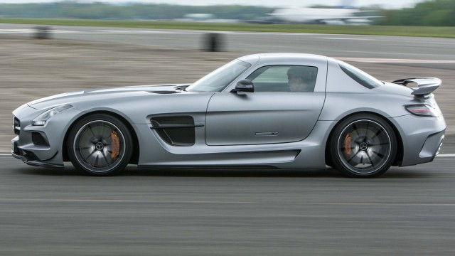 Mercedes SLS Black on the Top Gear Test Track