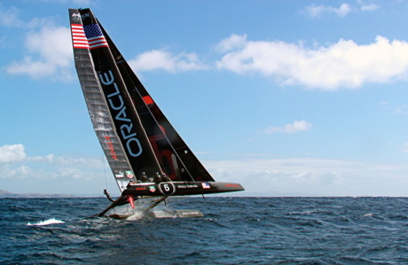 'Top Gear's season 20 premiere episode features a race with an America's Cup catamaran. (BBC America)
