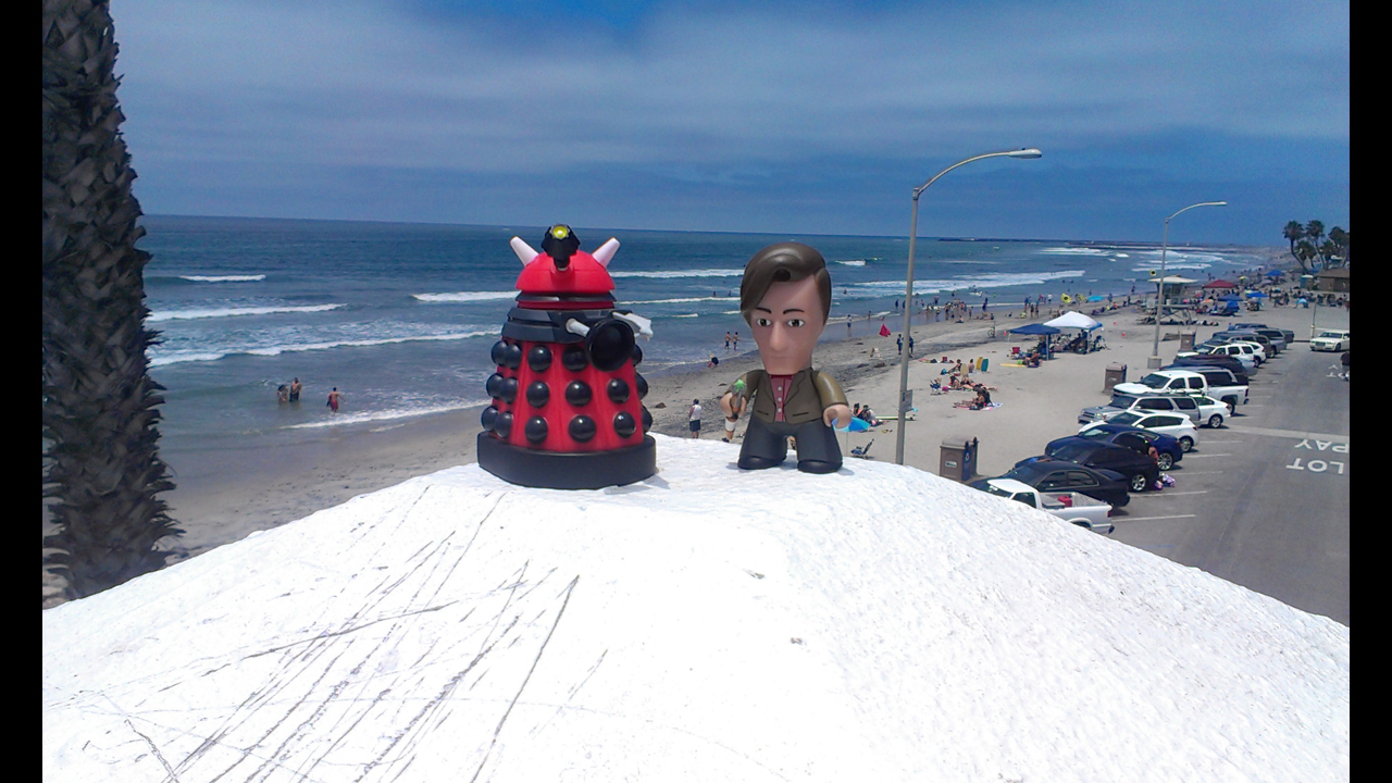 On the pier in Oceanside, Ca with a sunburnt Dalek.