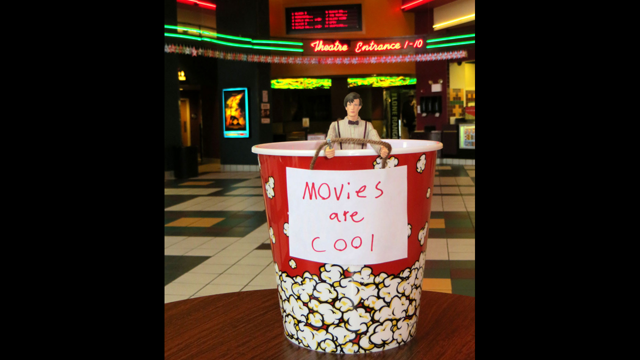 Found him in his popcorn bucket after enjoying a movie... Because movies are cool! - Darren R.