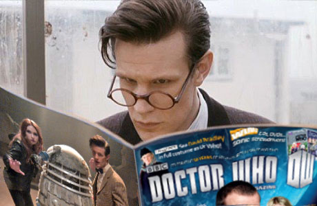 """What did it say about my chin?"" The Doctor reads 'Doctor Who' magazine."