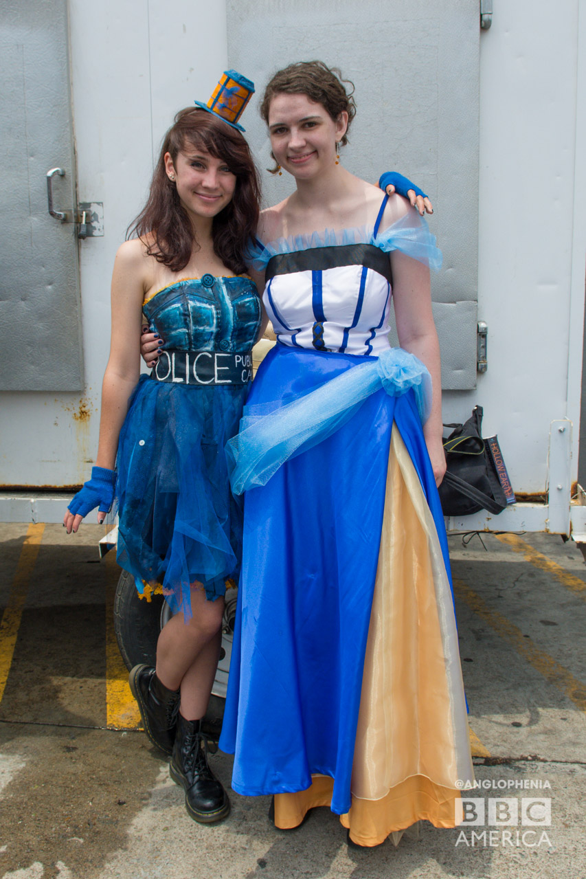 TARDIS dresses on the line outside the 'Doctor Who' meetup. (Photo: Dave Gustav Anderson)