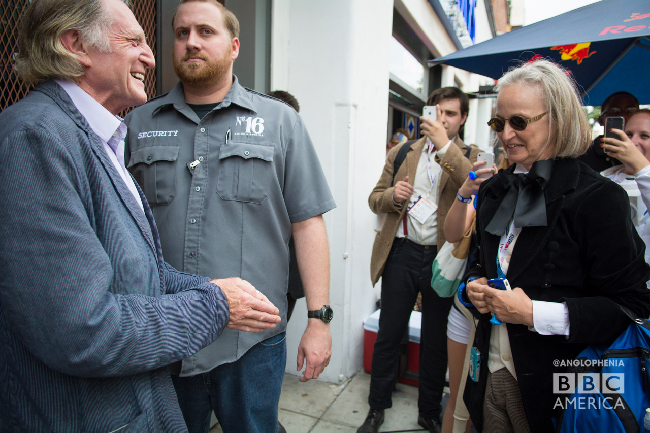 "David Bradley, who plays William Hartnell in ""An Adventure in Space and Time,' chats with a First Doctor cosplayer outside the 'Doctor Who' meetup. (Photo: Dave Gustav Anderson)"