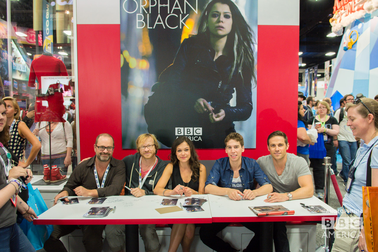 From left: Graeme Manson, John Fawcett, Tatiana Maslany, Jordan Gavaris, and Dylan Bruce at the 'Orphan Black' signing. (Photo: Dave Gustav Anderson)