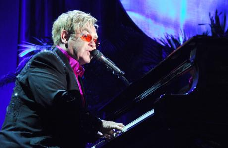 Sir Elton John at The Breast Cancer Research Foundation's 2013 Hot Pink Party held at Waldorf Astoria, NYC on April 17, 2013. (Sipa via AP Images)