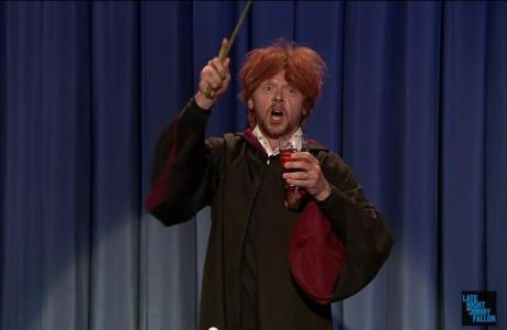 Simon Pegg as Ron Weasley on Late Night with Jimmy Fallon.