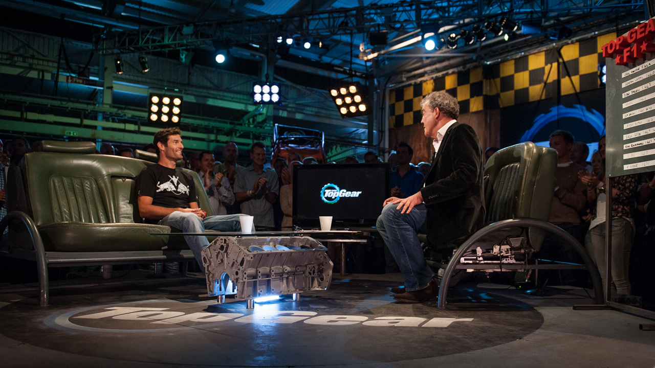 Mark Webber and Jeremy Clarkson in the studio.