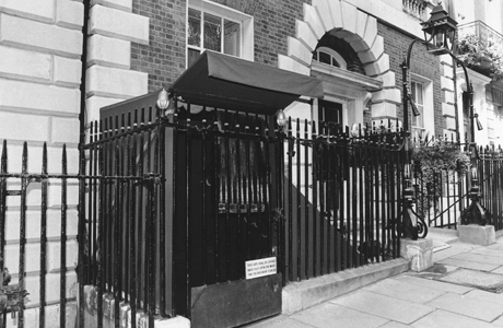 The entrance to Annabel's nightclub in Berkeley Square, London, England on July 17, 1986, where Princess Diana and royal bride-to-be Miss Sarah Ferguson astonished party-goers by arriving at the club disguised as policewomen at night. (AP Photo)