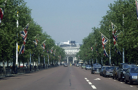 This is a view of the Mall, looking from Buckingham Palace toward Admiralty Arch in London, 1986. (AP Photo)