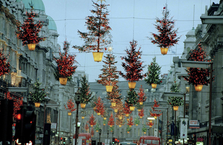 Regent Street, one of London's busiest shopping districts, is decorated for Christmas, 1989. (AP Photo)