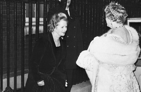 Prime Minister Margaret Thatcher greets the Queen Mum, 1980. (AP)