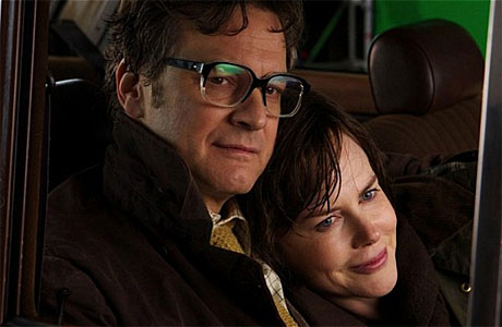 Colin Firth and Nicole Kidman share a tender moment in 'The Railway Man'