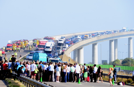 Massive crash on Sheppey Crossing, Sept. 5 (Paul Webb/AP Images)