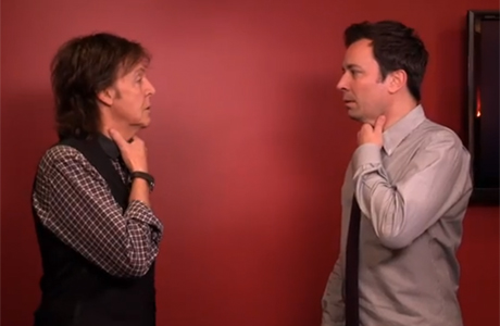 Sir Paul McCartney and Jimmy Fallon switch accents in this 'Late Night' featurette. (Photo: NBC via YouTube)