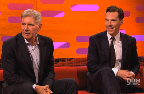 Harrison Ford and Benedict Cumberbatch on the October 19 episode of 'The Graham Norton Show' on BBC AMERICA. (Photo via YouTube)