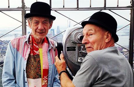 Sir Ian McKellen and Sir Patrick Stewart on the Empire State Building in NYC. (Photo via Ian McKellen's Instagram)