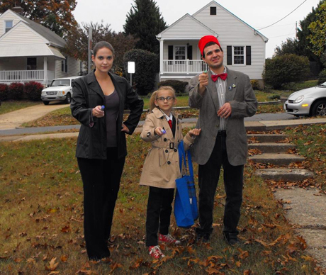 Katie Kervin Stanley, her 10-year-old daughter and her brother dressed up as Nine, Ten and Eleven.