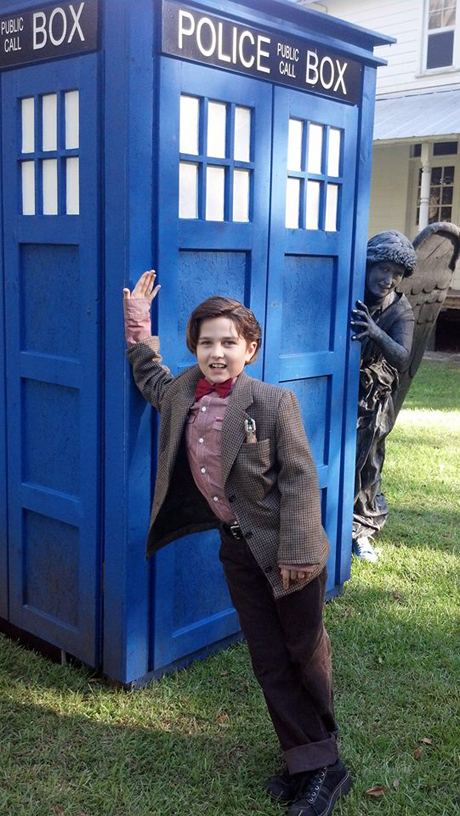 Cara Nelson and her son played around the TARDIS.