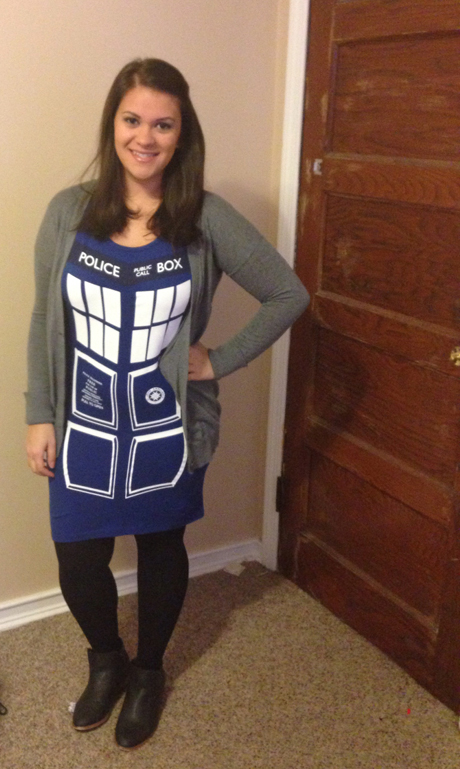 Our very own intern extraordinaire Krissy Trujillo put her stamp on the TARDIS, wearing it to class.