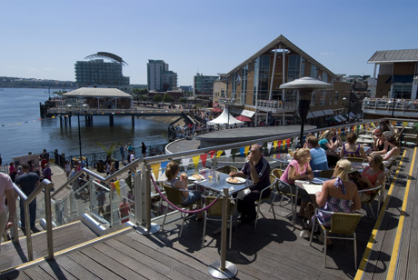 "Mermaid Quay (pronounced ""key"") at Cardiff Bay. (AP)"