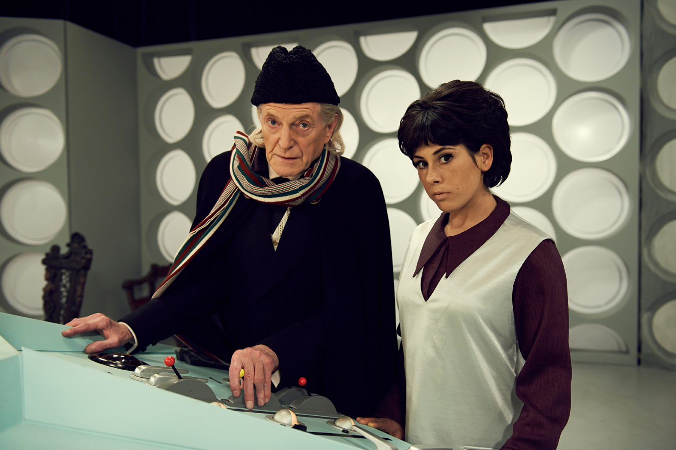 David Bradley as First Doctor William Hartnell and Claudia Grant as Carole Ann Ford (who played Susan Foreman on 'Doctor Who') in 'An Adventure in Space and Time' (Photo: BBC AMERICA)