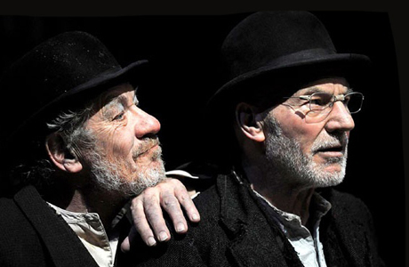 Sir Ian McKellen leans on his friend's shoulder in Waiting for Godot. (Haymarket Theatre)