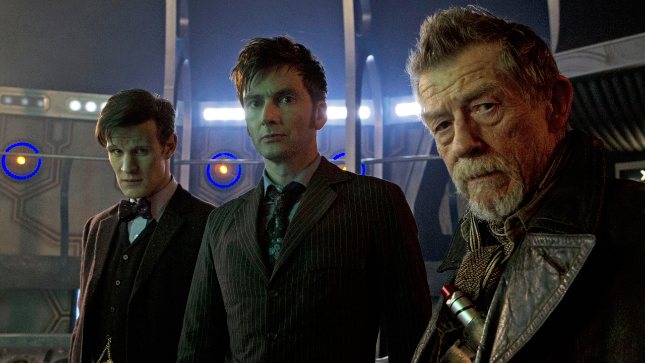 Matt Smith (left), David Tennant, and John Hurt in 'Doctor Who' (Photo: BBC)