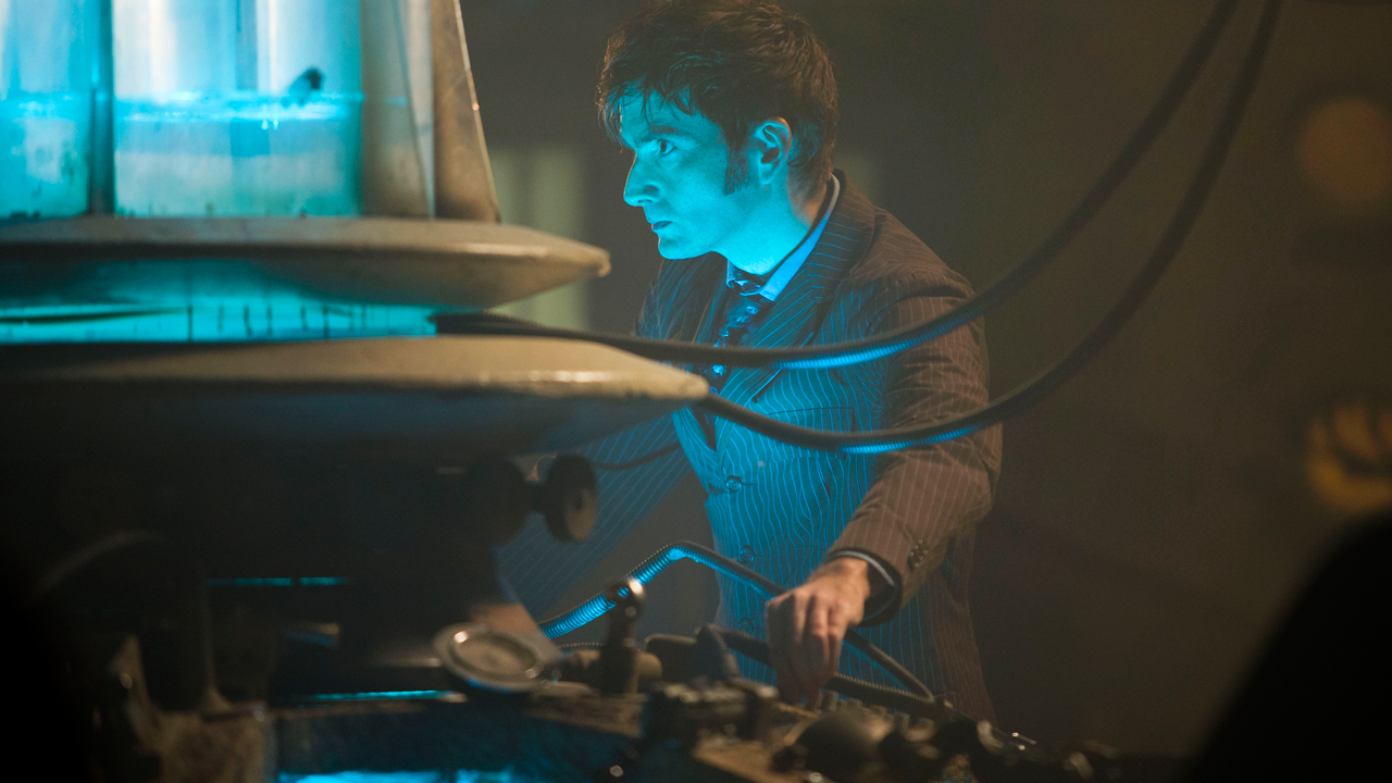 David Tennant at the TARDIS console.