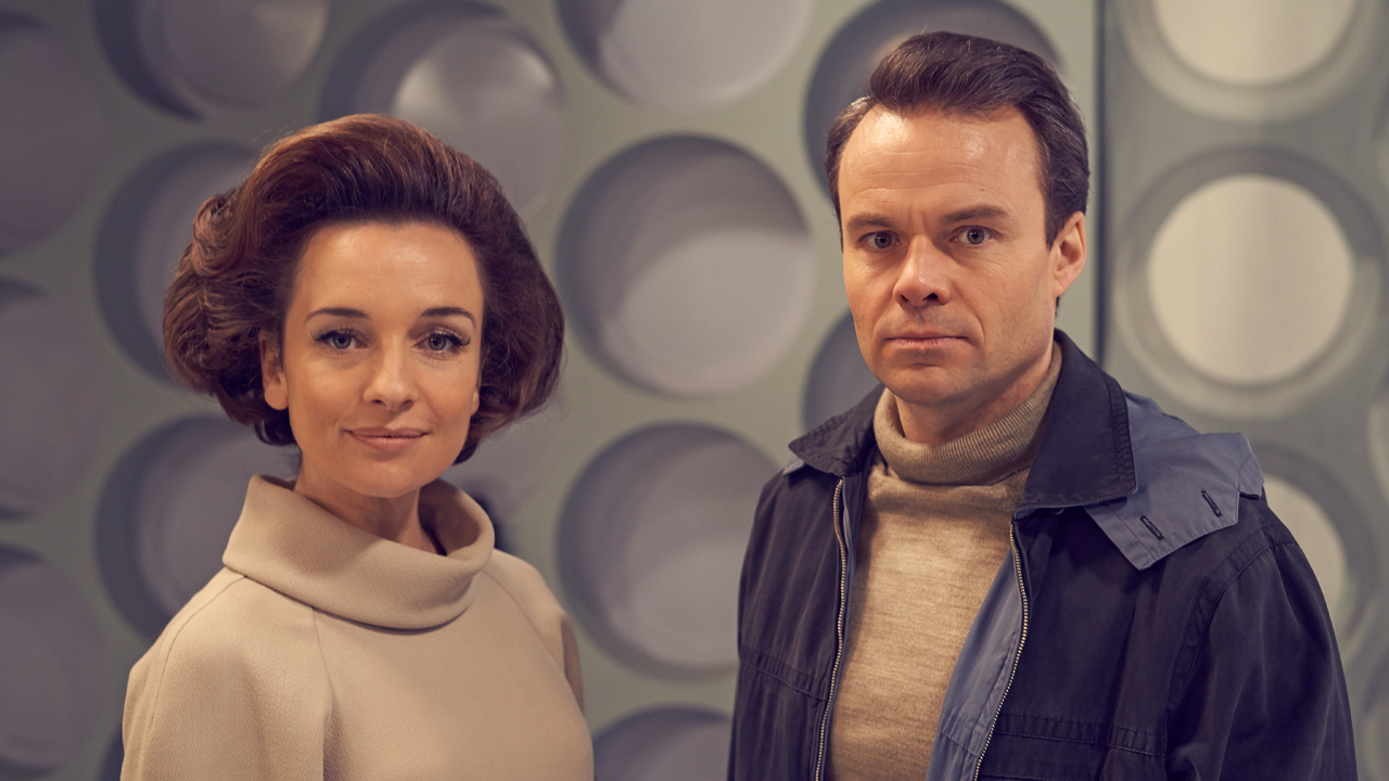 Two of the Doctor's companions: Jemma Powell as Jacqueline Hill, who played Barbara Wright, and Jamie Glover as William Russel, who played Ian Chesterton.