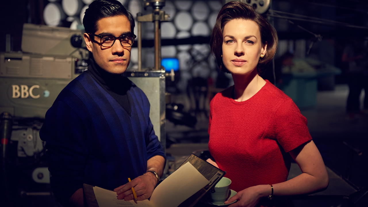 Sacha Dhawan as Waris Hussein, the director of the first Doctor Who story, and Jessica Raine as Verity Lambert, founding producer of Doctor Who.